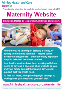 Image of new Maternity Website for Frimley Health and Care